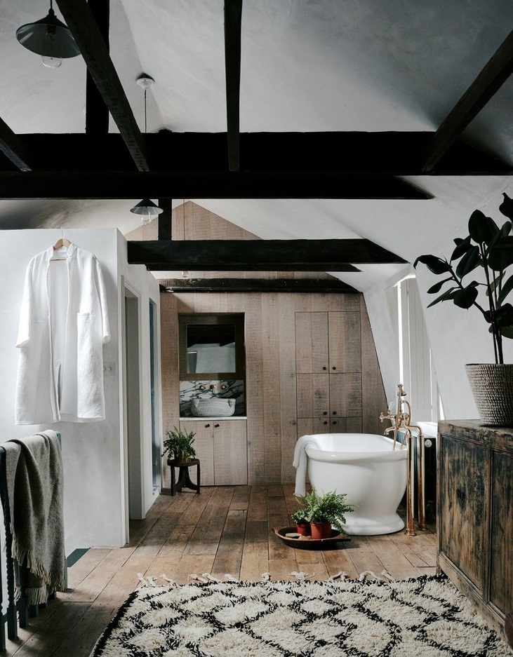 Serene wooden bathroom in The Weavers House in London
