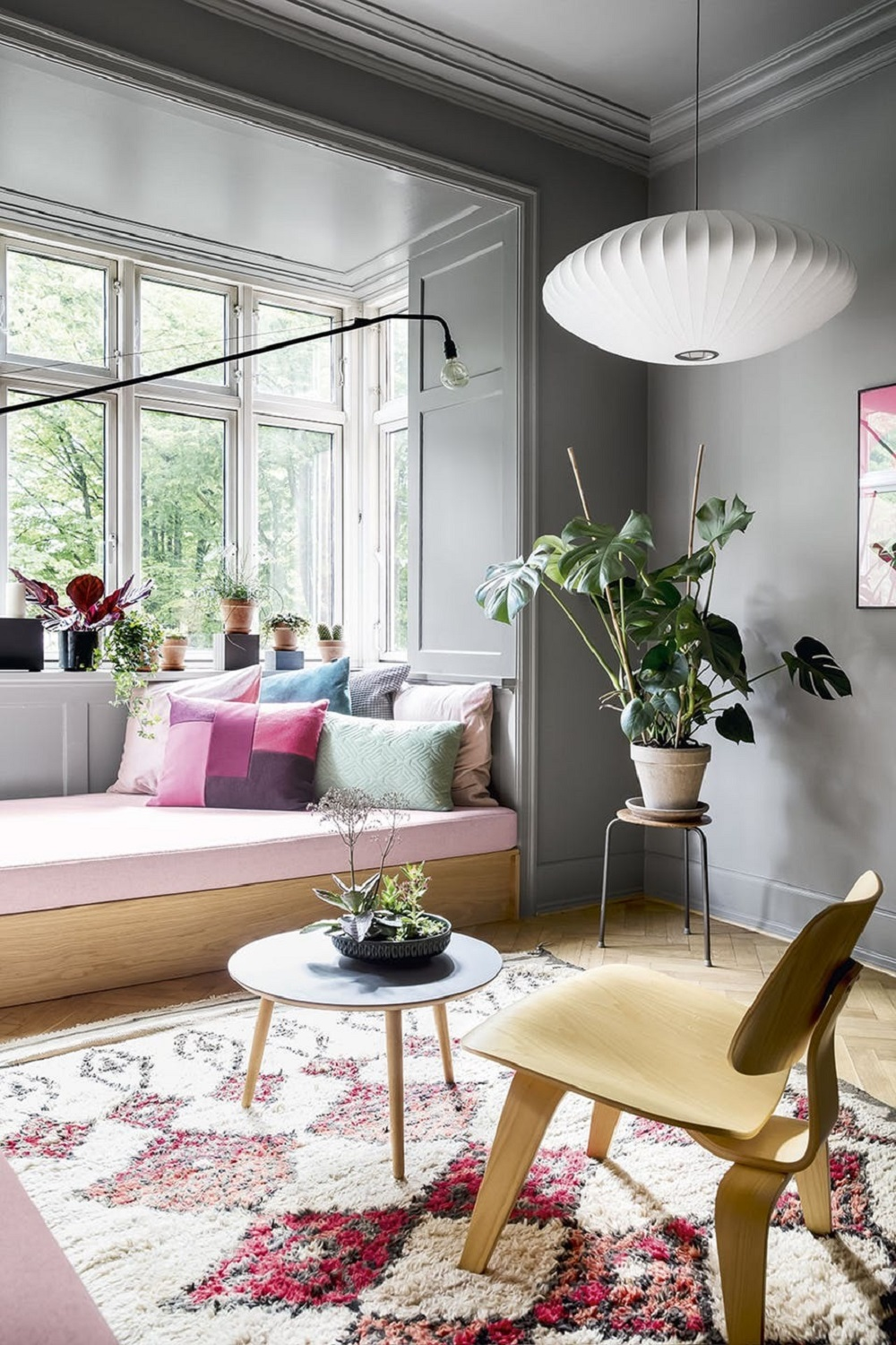 A pink & grey beauty. I especially love that window seat | photo by Christina Kayser Onsgaard