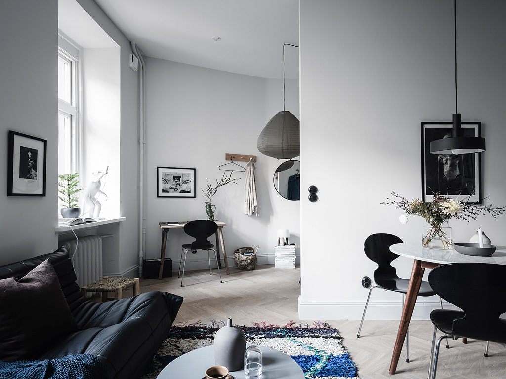 The Nordroom - A Scandinavian Studio Apartment Decorated In Blue Tones