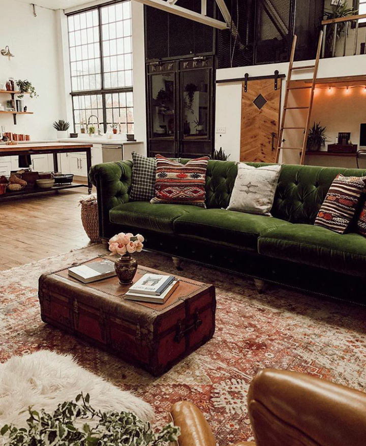 A Vintage Industrial Barn Home With A Beautiful Green Velvet ...