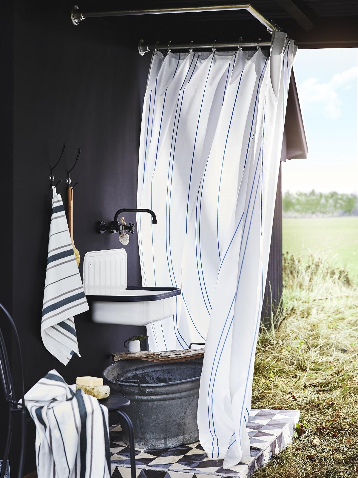 Ottsjön towel shower curtain (made from recylced PET bottles)