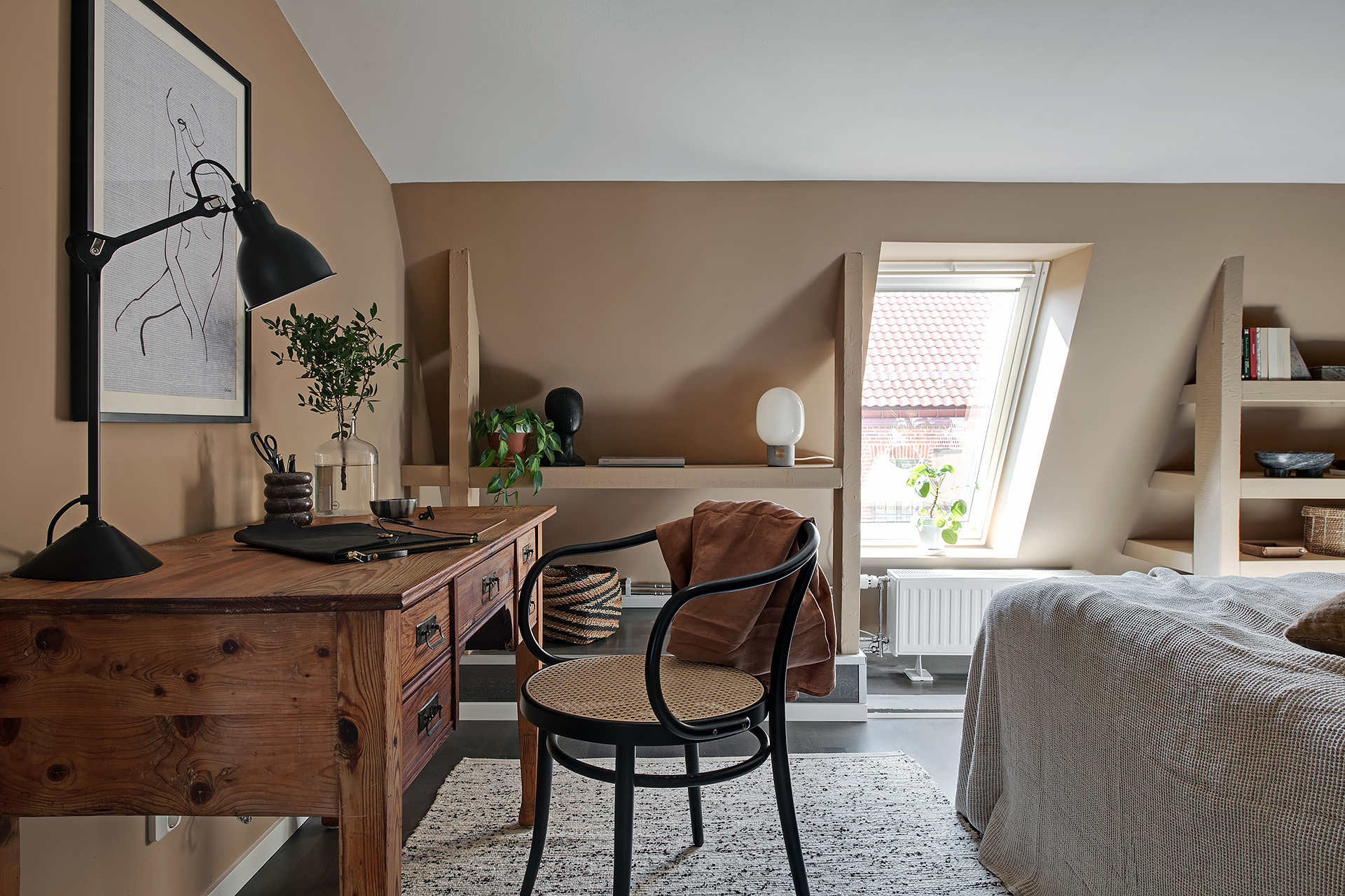 The Nordroom - A Scandinavian Attic Apartment Painted in Soft Earthy Tones