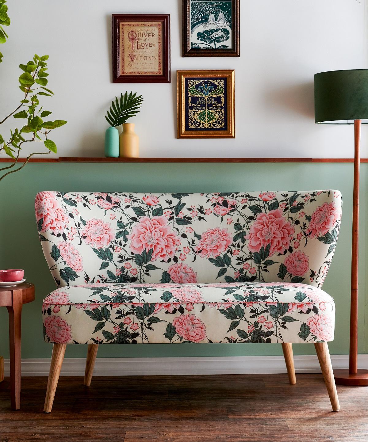 Vintage Floral Loveseat -