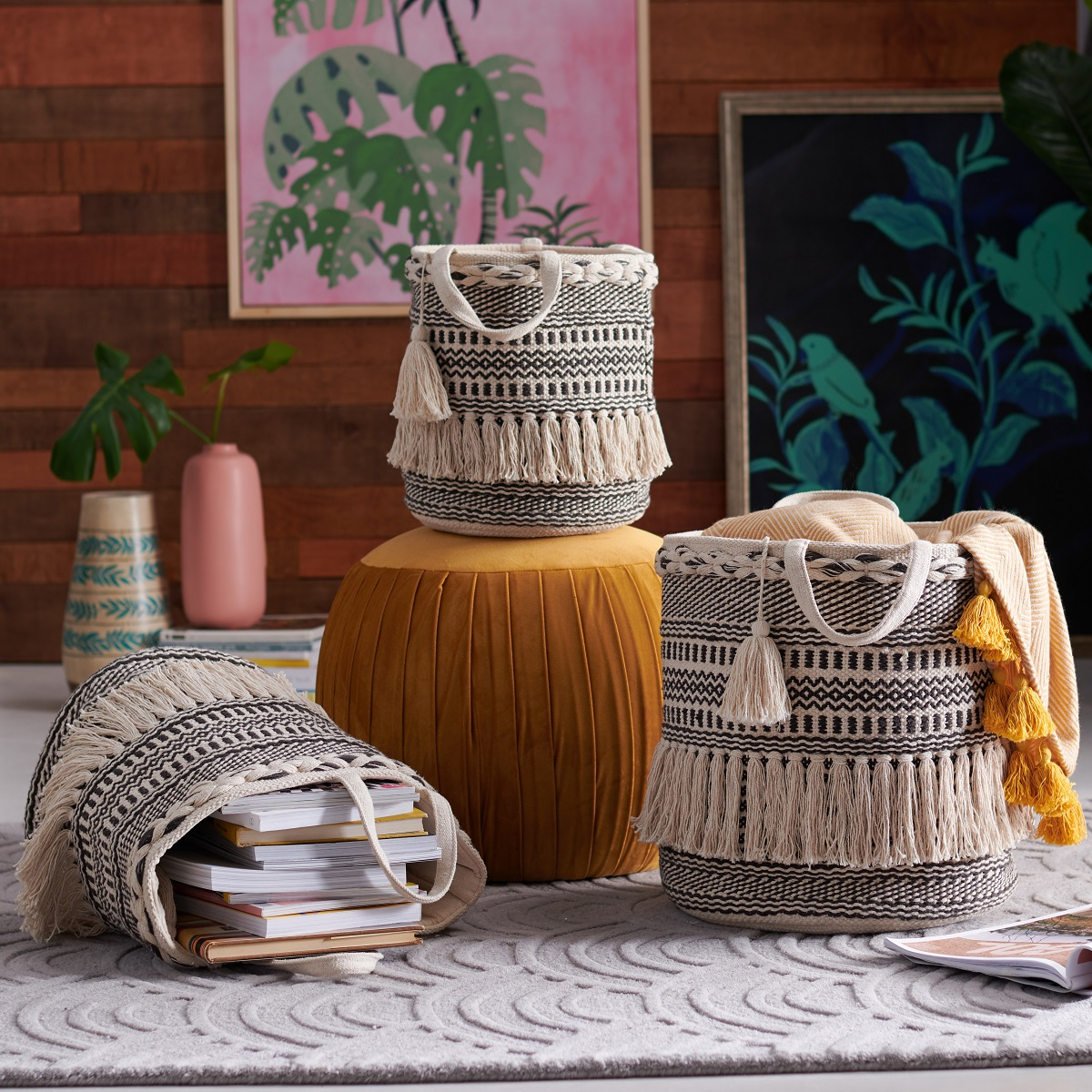Hand Woven Macrame 3 Piece Basket Set -