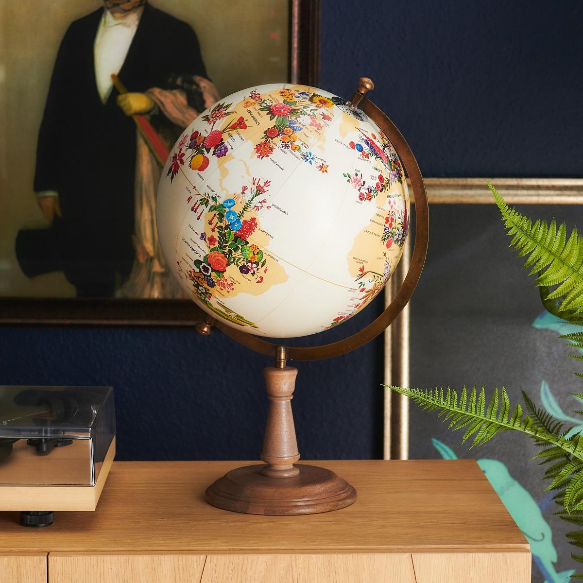 World Map of Flowers Globe -