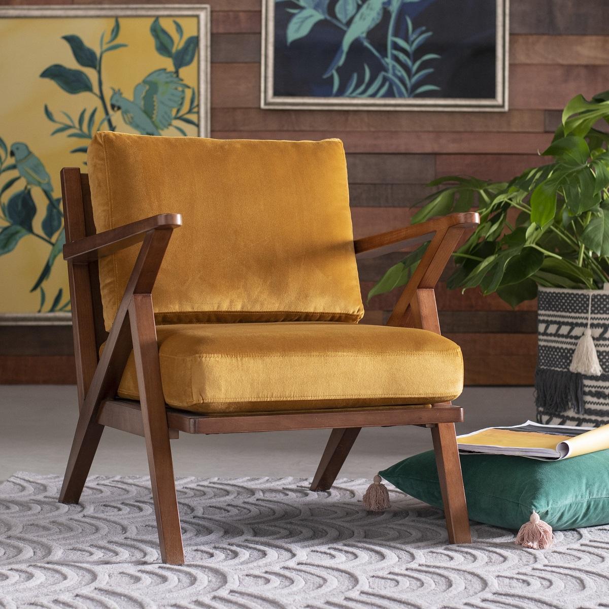 Velvet Mid-Century Accent Chair -