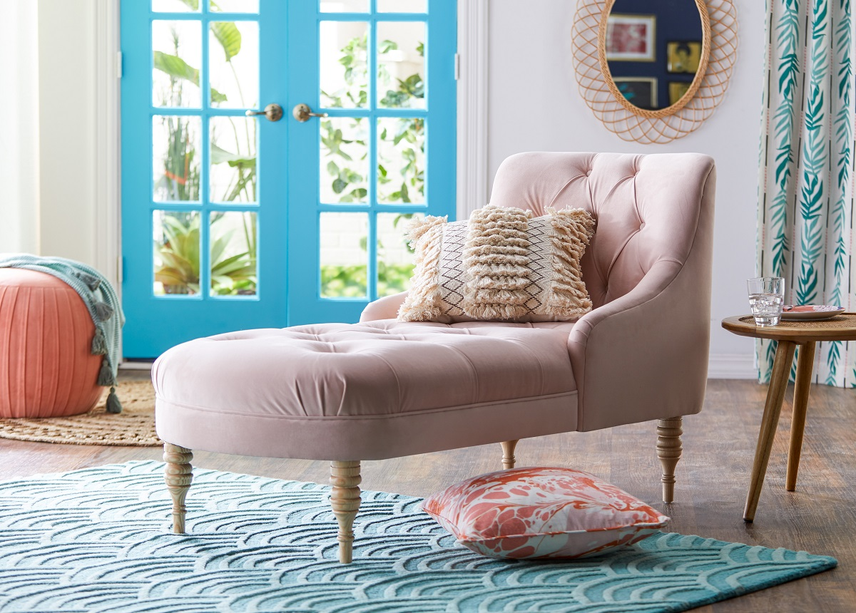 Tufted Chaise Lounge (in blue, grey & pink) -