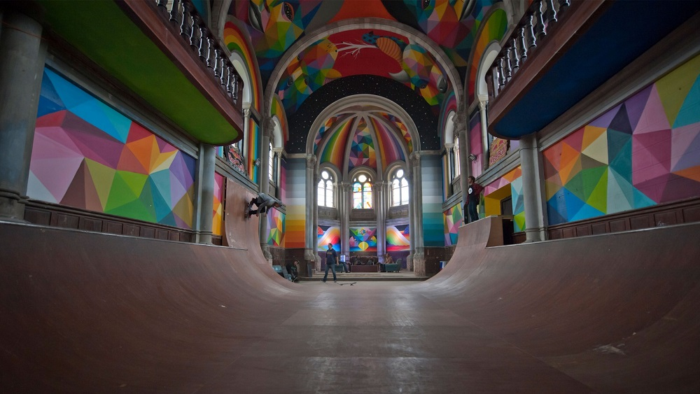 The Nordroom - 15 Heavenly Church Conversions (Santa Barbara transformed into Skate Temple with murals by Okuda San Miguel)