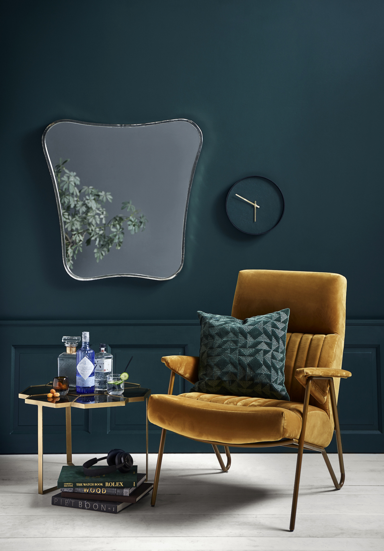 Mustard high backed chair by    The Forest & Co