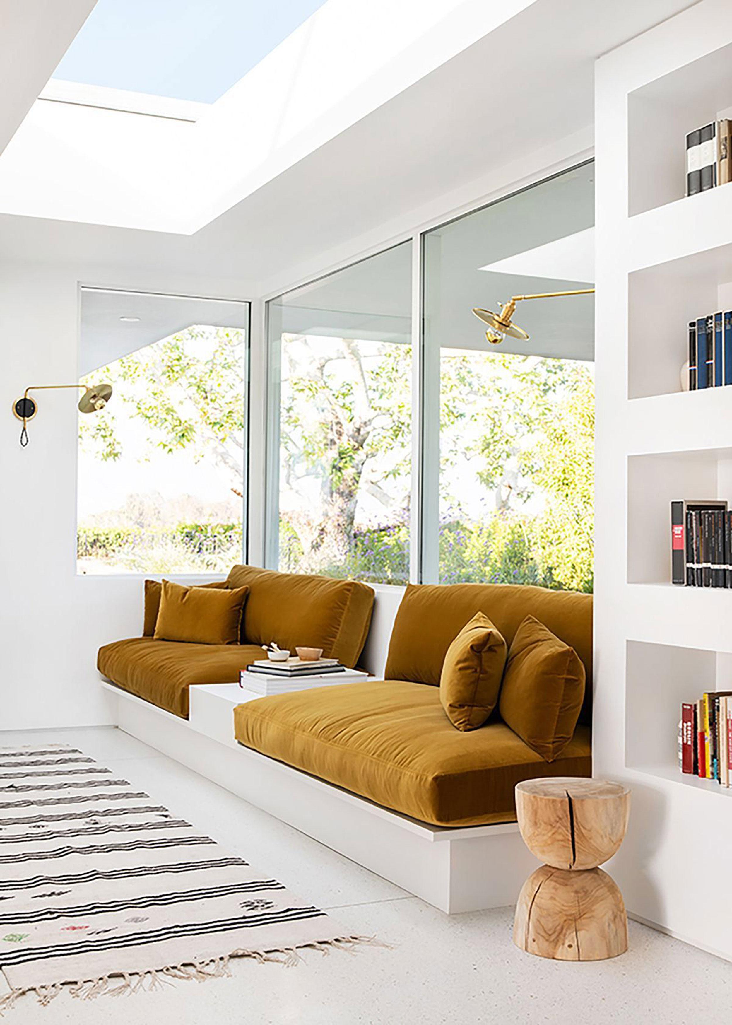 Mustard window seat (interior design by    Sarah Sherman Samuel    & photography by    Tessa Neustadt   )