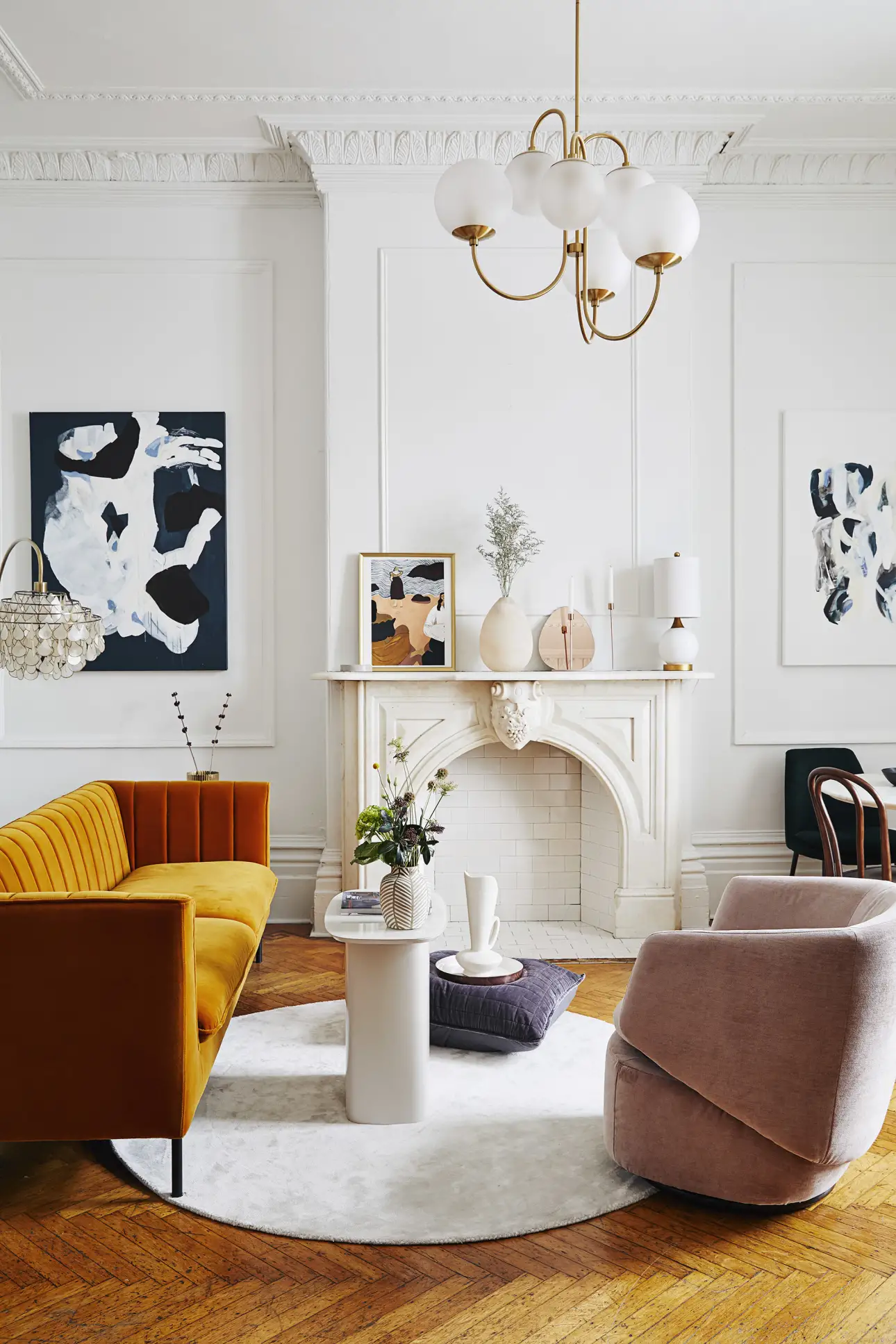 Mustard sofa in a Montreal apartment (photography by    Sylvie Li   )