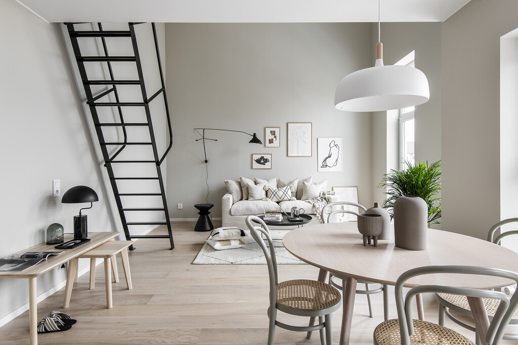 The Nordroom - A Beige & Grey Tiny Loft in Sweden