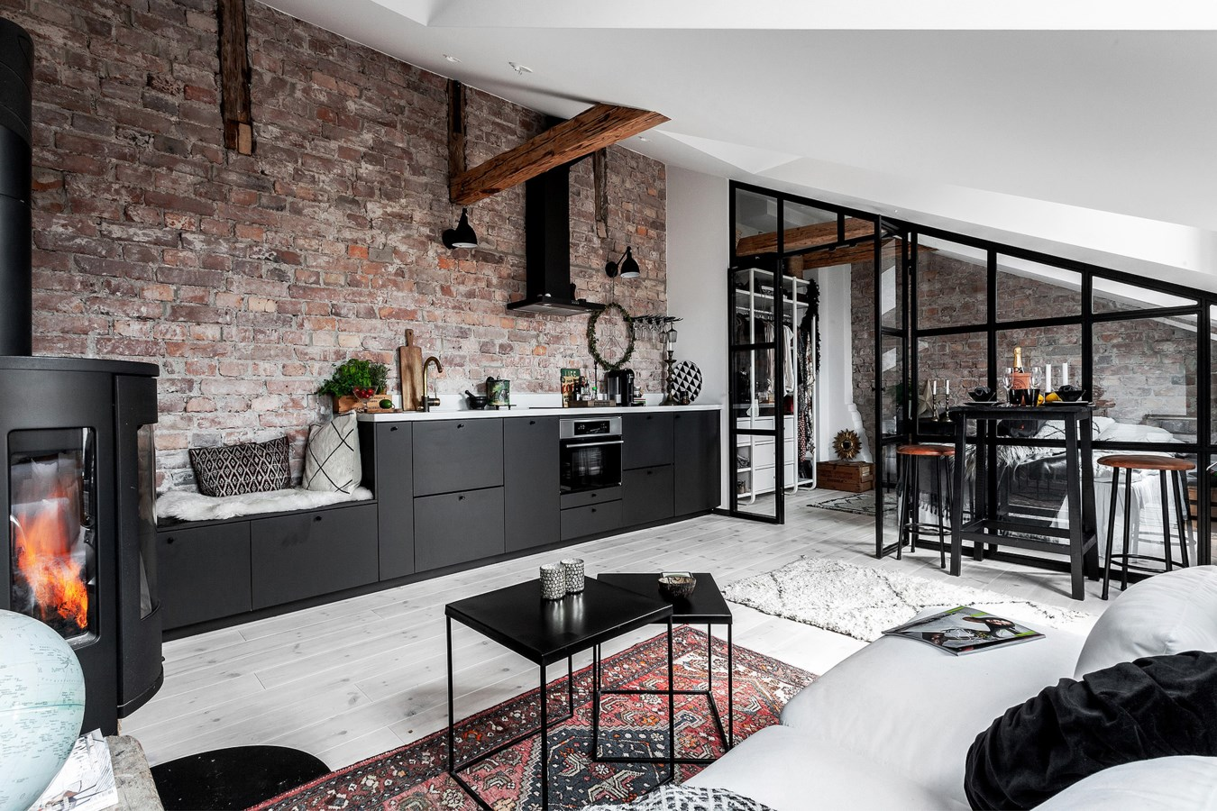 An Industrial Look For A Small Attic Apartment In Stockholm The Nordroom