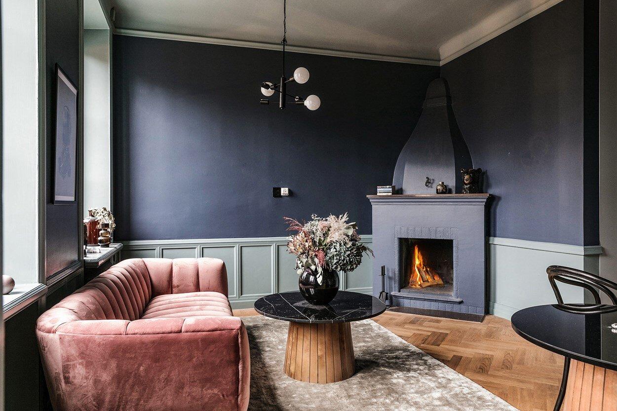 Dark Painted Scandinavian Apartment