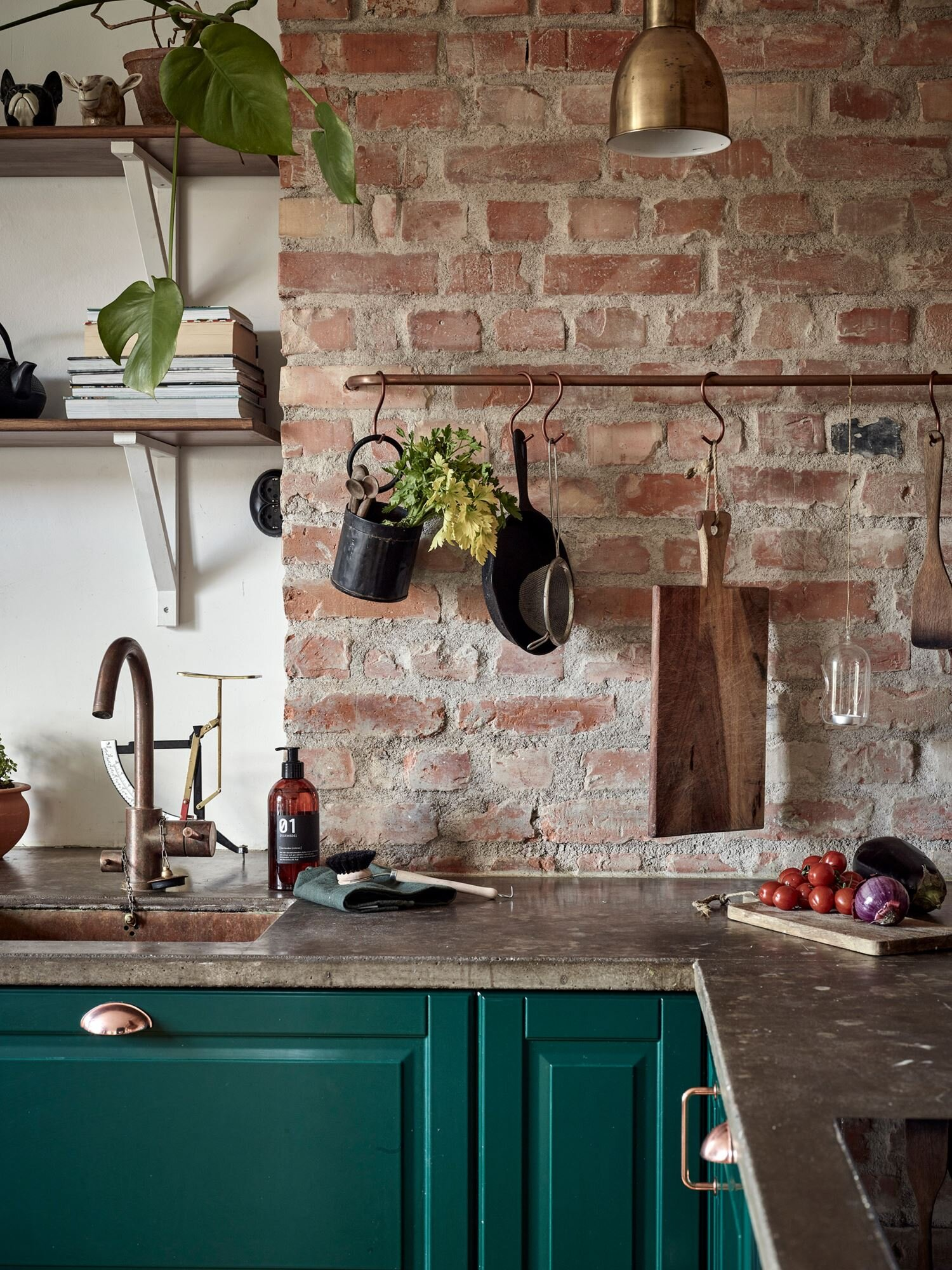 A Green Kitchen with Exposed Brick in a Scandi Apartment — THE ...