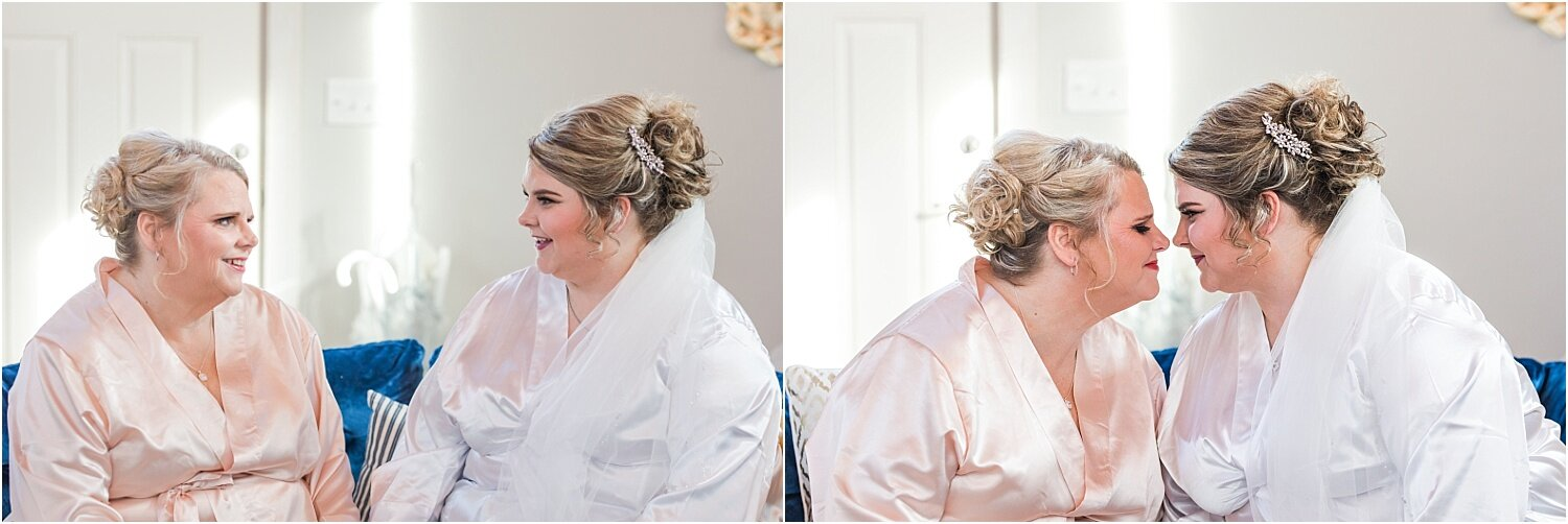 Bride and mom getting ready in robes