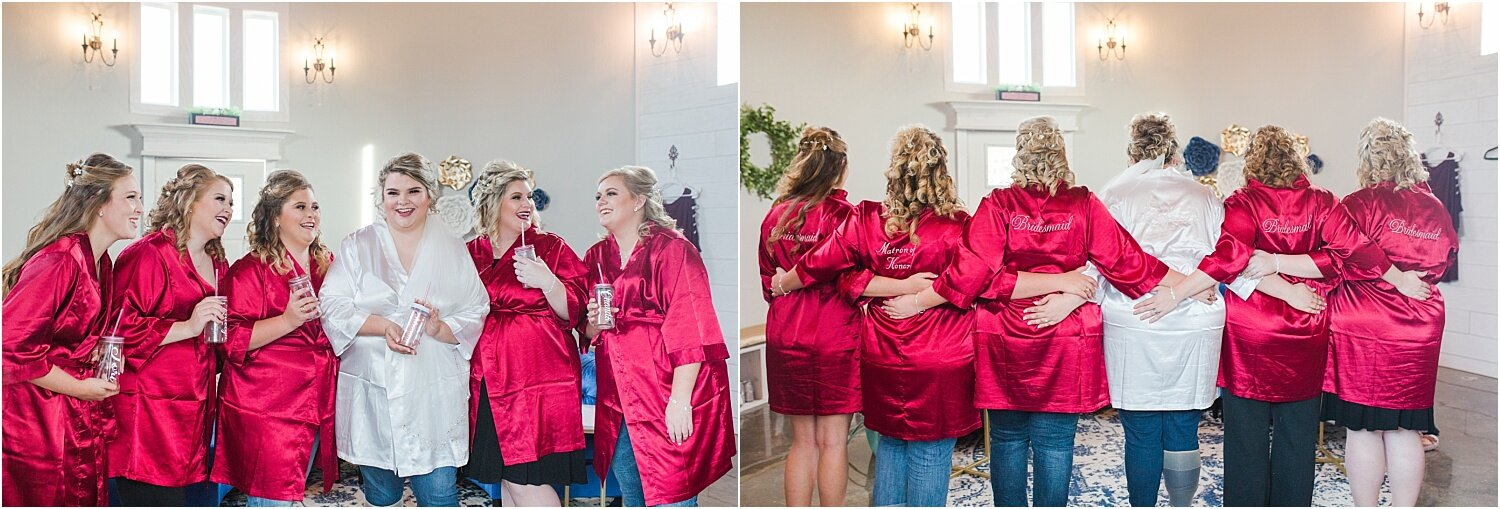 Red and white bridesmaid's robe getting ready photos