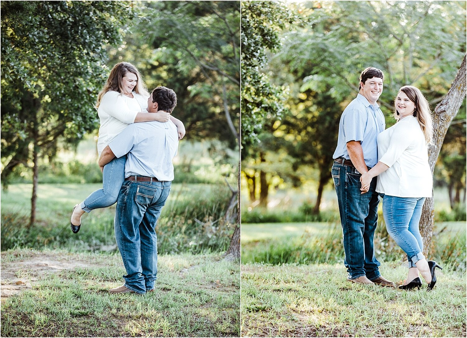 Cozy outdoor engagement photos with lifts and spins