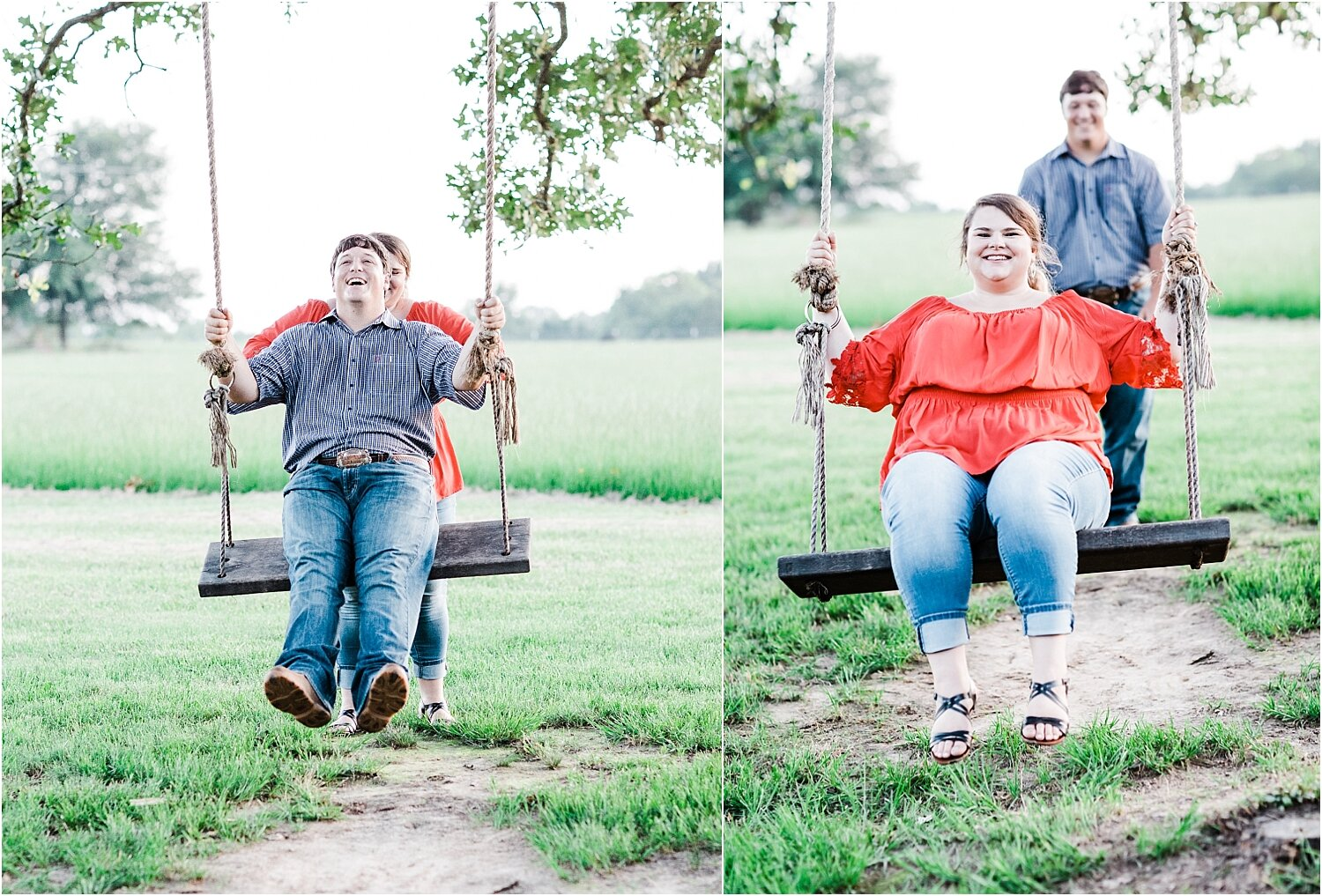 fun outdoor candid engagement photos on swing