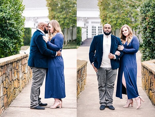 Engagement photos at Turtle Creek Park in Dallas, Texas. Blue dress and sports coat.