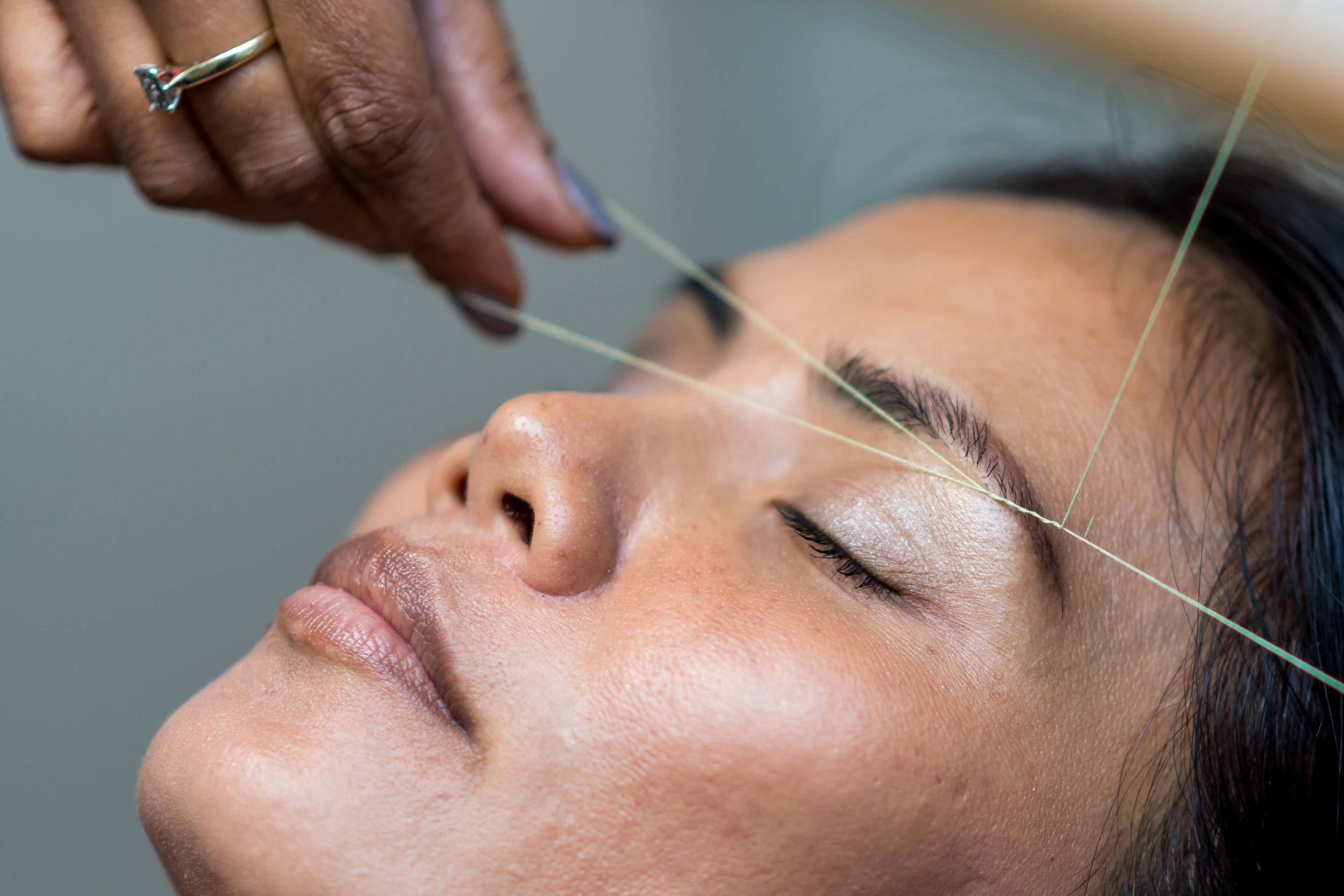 Threading Hair Removal - Upper lip or Chin (15 min)......$11.00Eyebrows (15 min)....................$16.00Full Face (30 min)....................$36.00