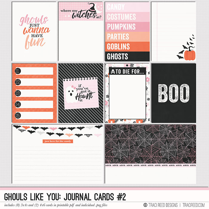 Adorable AND useful, all of my card packs are designed to be a good mix of designer and journaling cards to fill the needs of all scrapbookers.