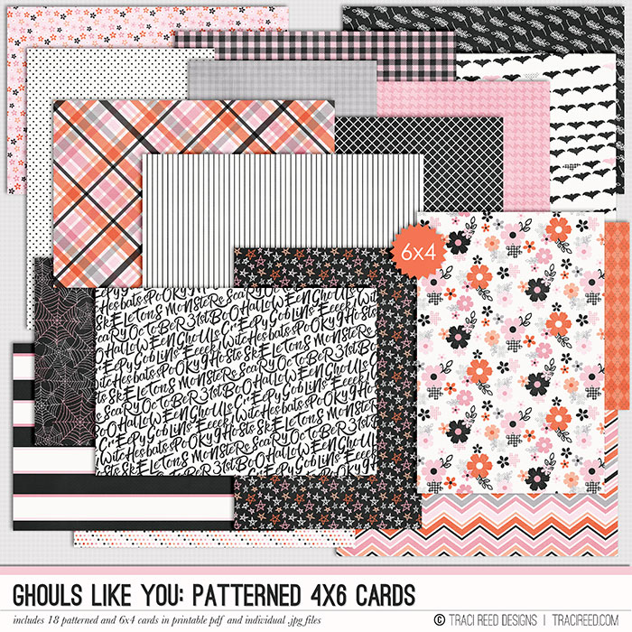 I'm excited to be offering a new product line to help ease the hybrid scrapbooker's use, 4x6 cards that have all the patterns in the collection! You can use as a 4x6 or cut in half for a 3x4, without having to print a full TN sized paper!