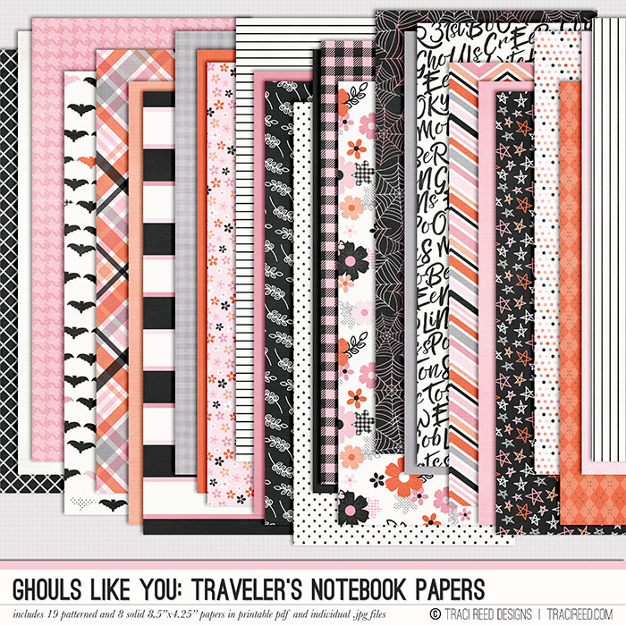 """In the Traveler's Notebook sized papers, you get each pattern in 4.25x8.5"""" to accommodate most standard-sized inserts. These are also perfect for the hybrid scrapper who doesn't have access to a 12x12 printer, but wants to use the papers in their 12x12 or 8.5x11 - perfect for layering and paper strips on any cardstock size!"""