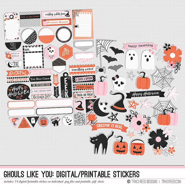 Last but not least, my love for digital stickers is REAL and in the Ghouls Like You collection, you get not one, but TWO sheets of stickers to play with! The first sheet is full of journaling bits and word art, while the second has all the sticker icons from the collection - plus a couple banners! The stickers come on both individual .png files and printable sheets and all my printable sheets are designed to be EASY to fussy cut with straight lines on the word bits and circles designed for the standard circle punch sizes! On the icon sheets, the stickers come with faint fussy cutting guides, or just run them through your silhouette!