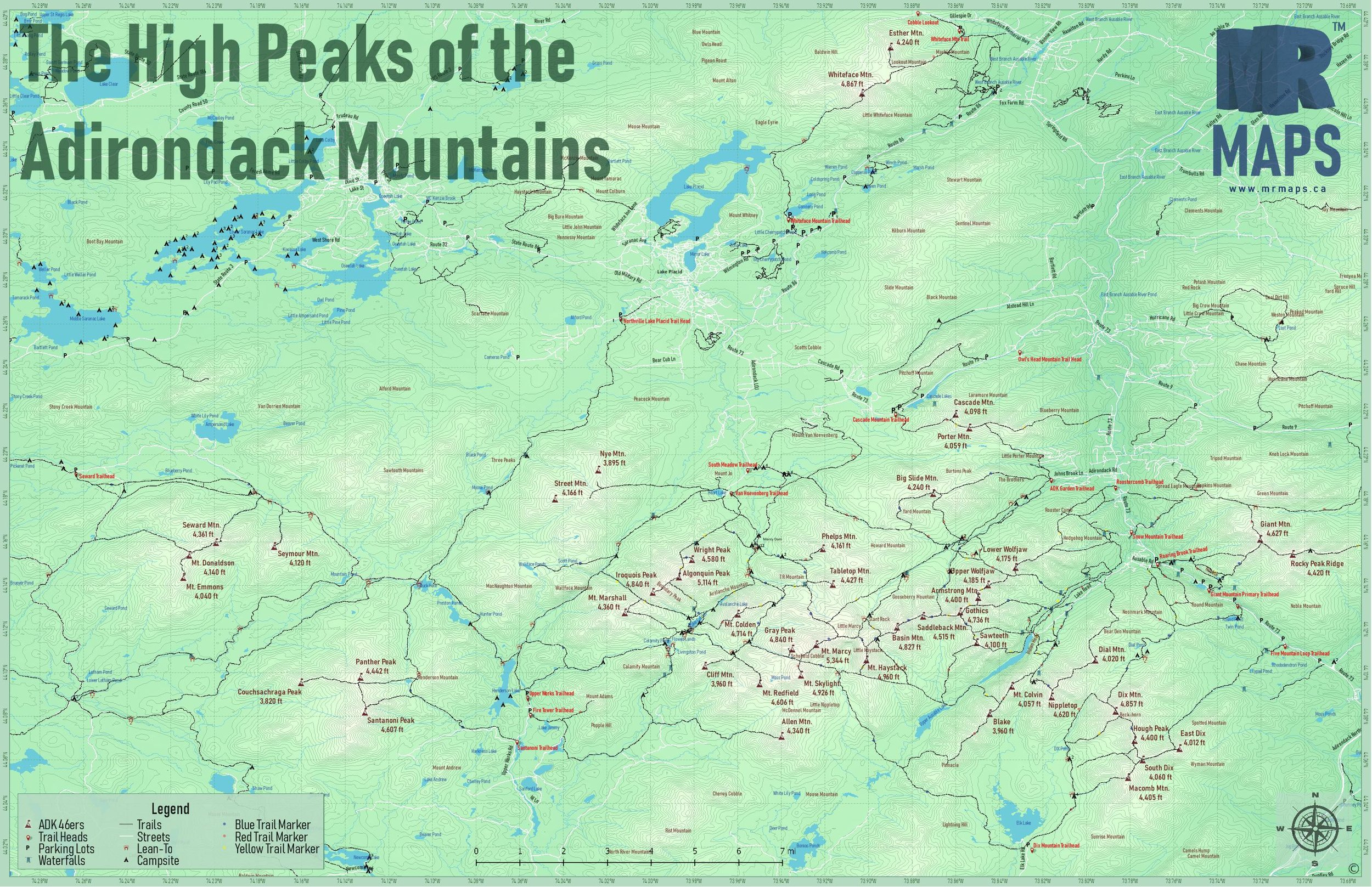 ADK High Peaks Trail Map - Free Download
