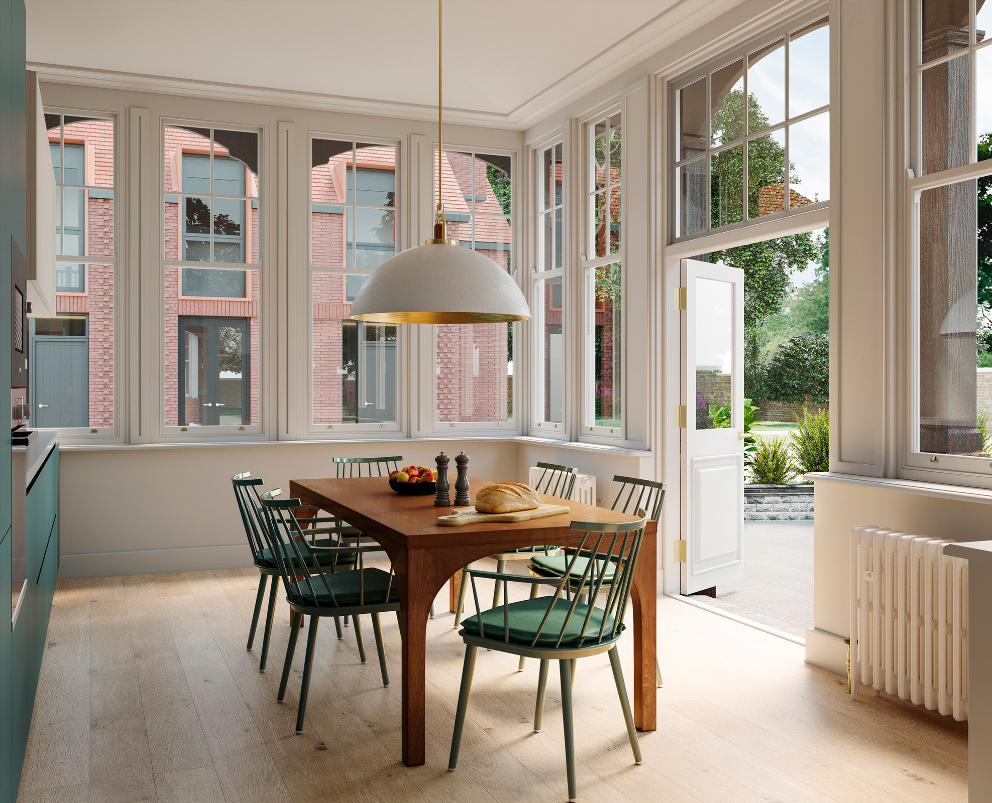 - The character of the building has been carefully conserved, developed and utilised to make the most of every space. In Apartment II the light, soul and ambiance of the gardens become a part of the residence and the private amenity is a perfect extension of the open plan kitchen — with morning sun, afternoons in the shade and sunset dinners.