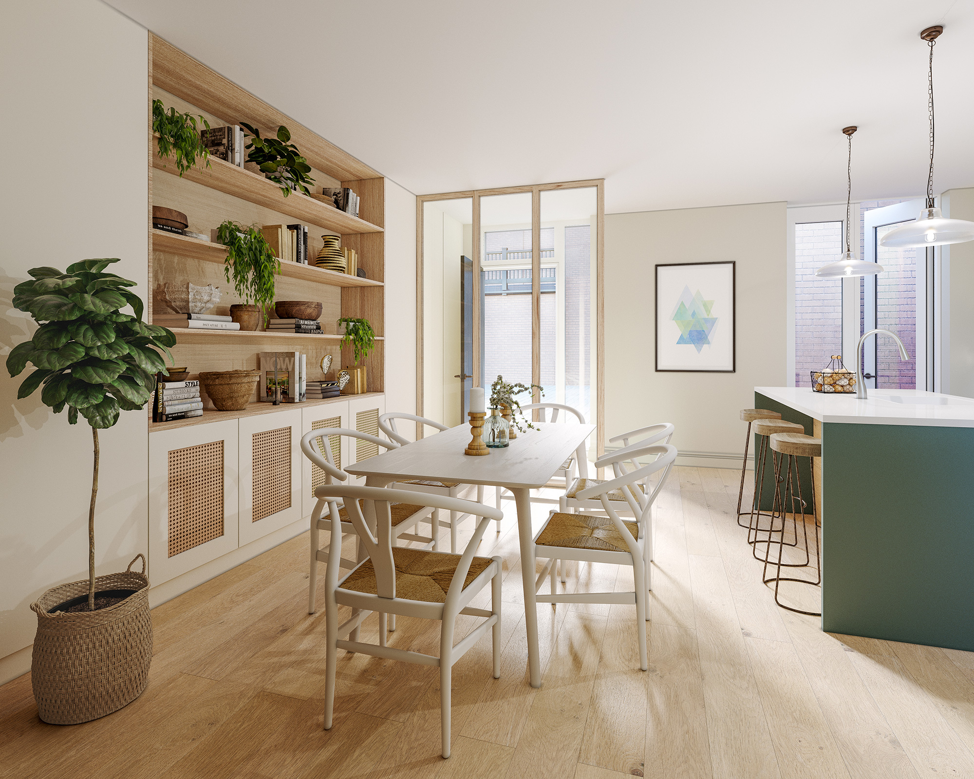 - Throughout the Mews Houses an uncompromising approach to quality is immediately apparent. The bright and airy dining areas feature architecturally designed glazed partitions, recessed shelving units with solid oak lipping and handcrafted joinery finished in white with natural cane panelling.