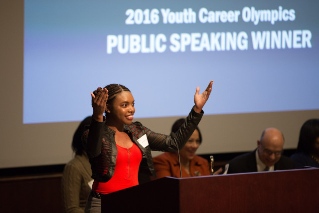 Public Speaking winner Basia Morris-Burton from Primetime at MLK Library presents her winning speech to a packed auditorium at the Victory Celebration.