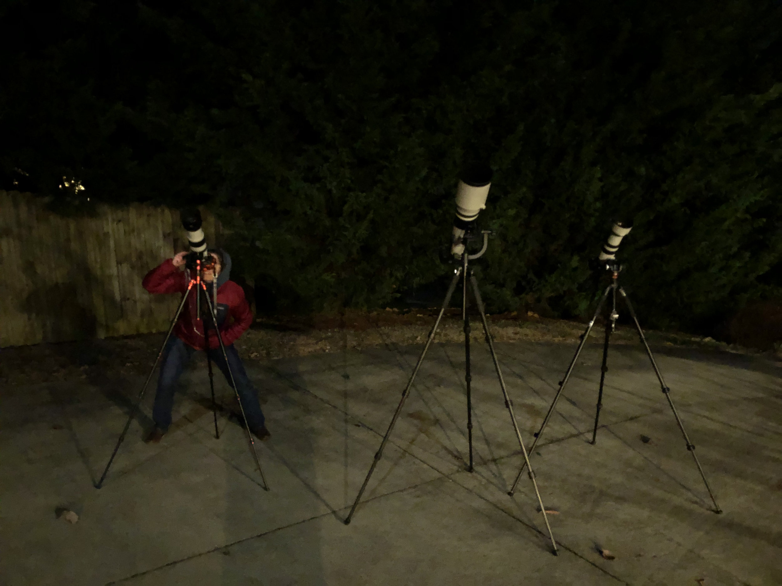 Setting up cameras for the January Lunar Eclipse