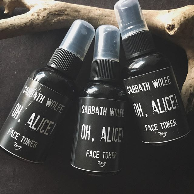Bringing oh, Alice! back when I finish updating the Sabbath Wolfe website. It's a spray toner with a potent oyster mushroom extract base, mineral packed Irish moss infusion, refreshing Iris, and therapeutic grade ylang ylang oil. I use mine on the regular. there are only a few on the shelf so when I finish the update I'll be sure to let y'all know 🖤 . . . . . . . #aliceinwonderland #oystermushrooms #pleurotusostreatus #facemedicine #skincare #realmagicskincare #toner #ylangylang #therapeuticgrade #essentialoils #holistic #handmade #neworleansbusiness #nolalove #iris #irishmoss #selfcareisntselfish