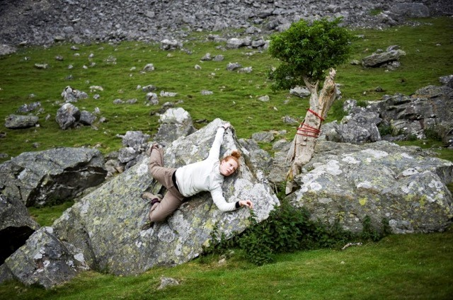 Fissure (2011). Robin Procter's Scar, The Yorkshire Dales. Performer: Jennifer Essex.  Photographer: Bethany Clarke.