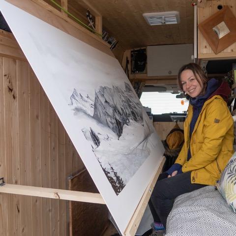 Sam in her mobile studio.
