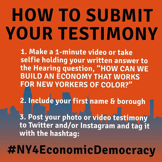 "On Nov 20th, MIT CoLab Mel King Fellows (13 NY City and State elected officials) will hear testimony from New Yorkers working to create the economy we need. Submit YOUR testimony to the Hearing question: ""HOW can we build an economy that works for New Yorkers of color?"" to #NY4EconomicDemocracy  To RSVP for the Nov 20th Hearing on Economic Democracy at New York City Hall, visit http://economicdemocracy.nyc"