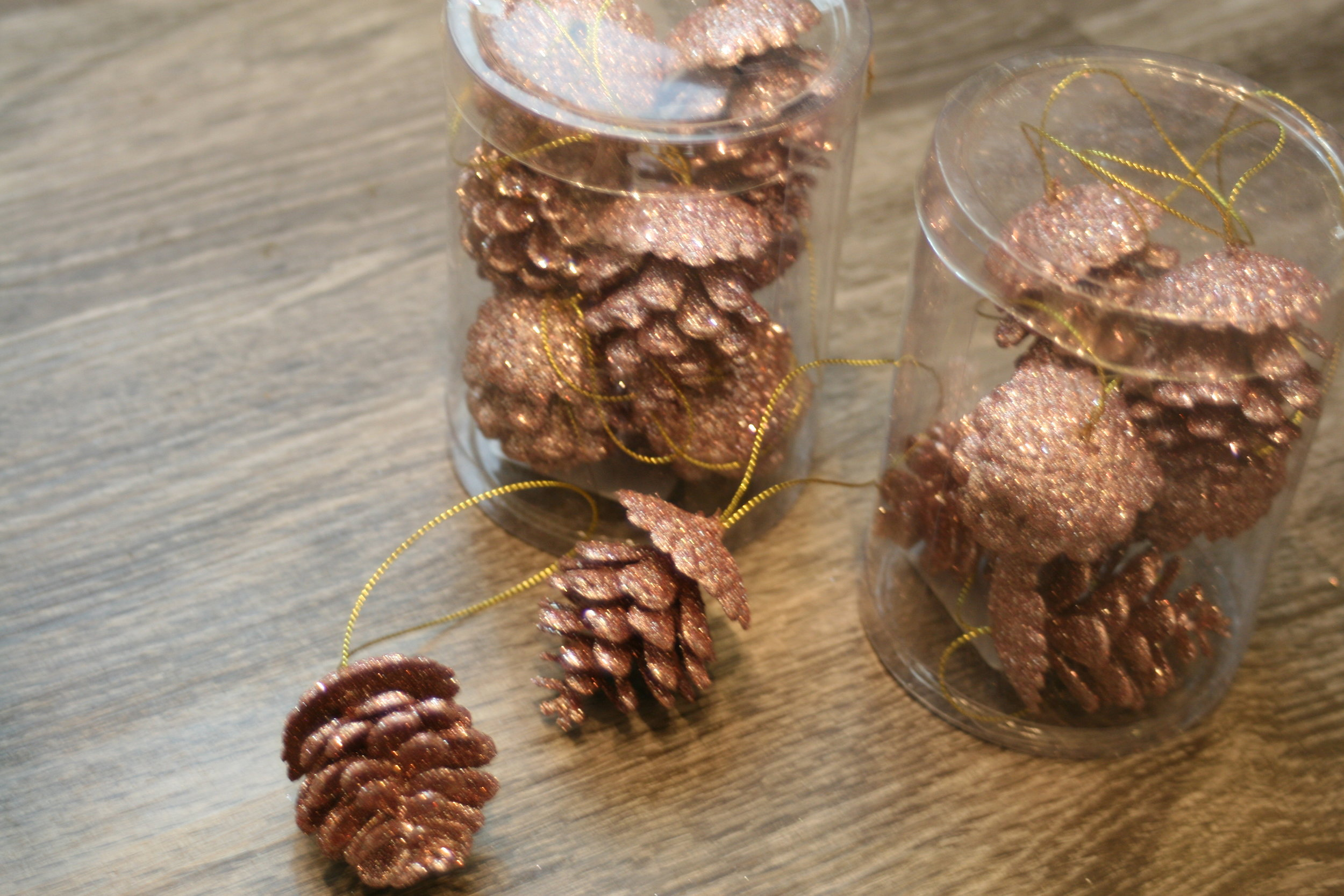 Snagged these blush glitter pine cones at Target! $3 for a tub of 6.