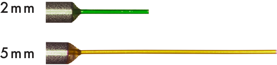 The 2mm green tip allows easy passage through valved entry cannulas and better visibility. The shorter tip is rigid enough to penetrate the retina, while the 5mm is more flexible.