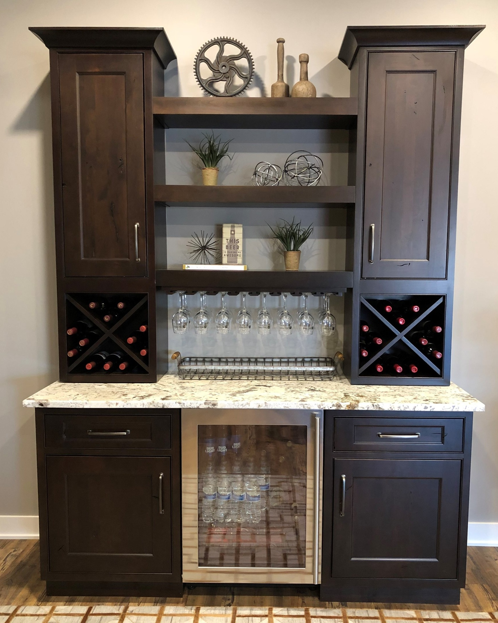 Bar - StarMark Cabinetry - Nottingham door style in Rustic Alder finished with Mocha stain with Ebony glaze