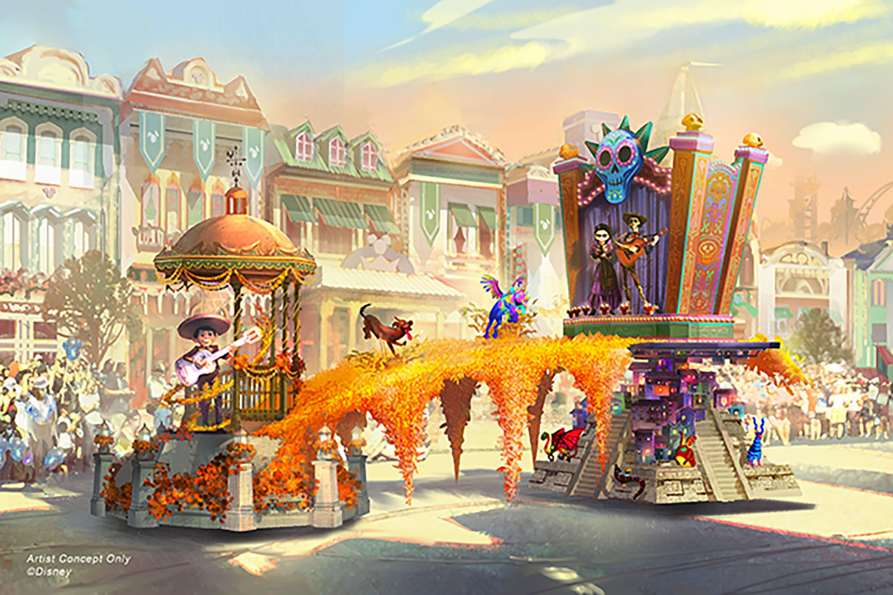 Coco themed float for Magic Happens parade at Disneyland. Concept art via Disney Parks Blog.