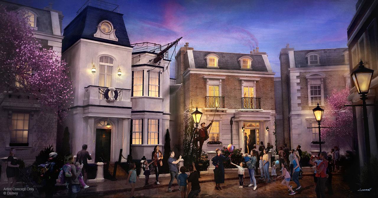 """Cherry Tree Lane"" addition to Epcot's United Kingdom. Concept art via Disney Parks Blog."