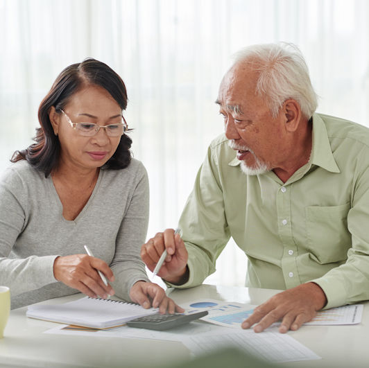 Couple working on tax preparation