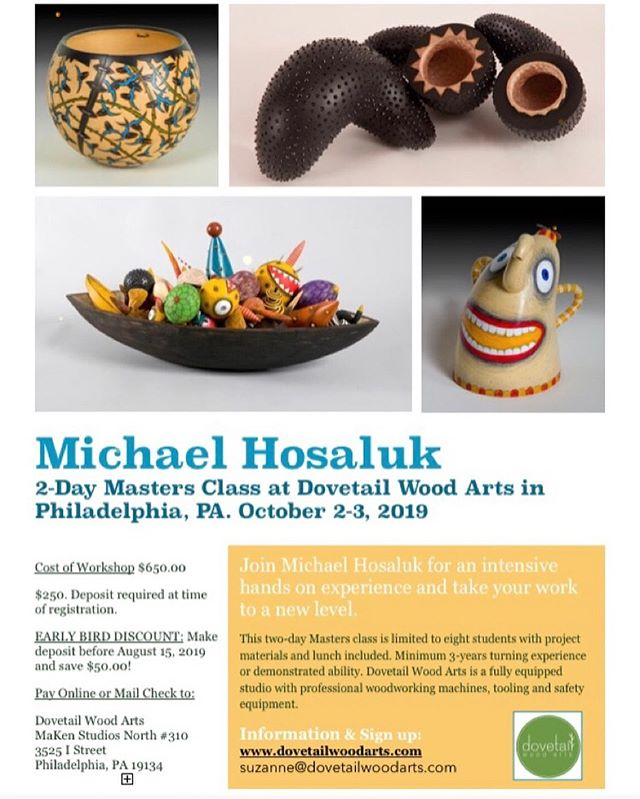 Sign Up Today! Come to Dovetail Wood Arts in Philadelphia and learn from one of the very best. Michael Hosaluk will blow your mind and your work will never be the same. Early Bird Discount expires on August 15th I get to play Shop Tech 😎Limited to eight participants. Two full days of hands on instruction #woodturning #michaelhosaluk #woodart #woodcarving #woodturner #woodartist #woodburning