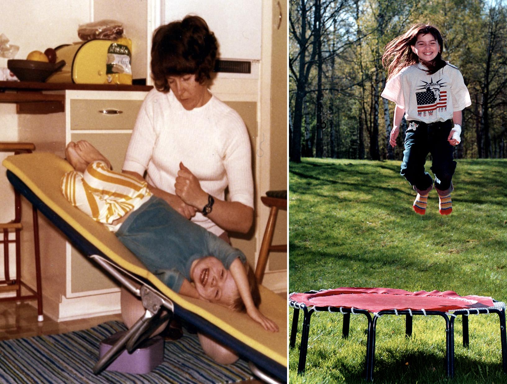 Figur 2. Till vänster: bankning av patient inför, och som en del av, sjukgymnastiken på 60-70-talet. Till höger: modern behandling med studsmatta under intravenös behandling på grund av ökat slem (90-tal).