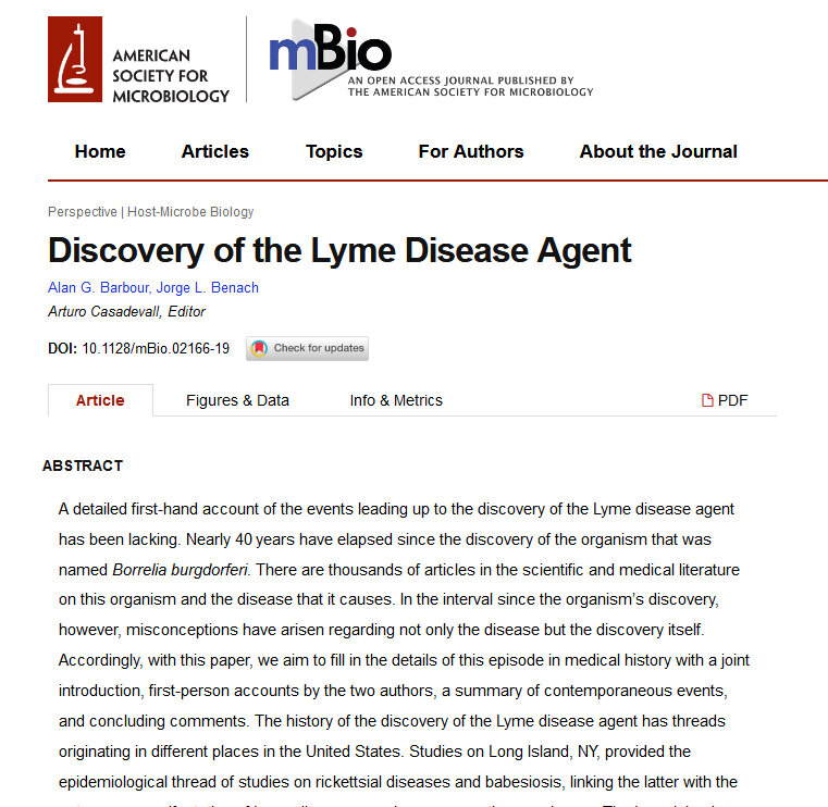 Lyme Disease - September 2019 article discussing a first-hand account of the discovery of Lyme disease!