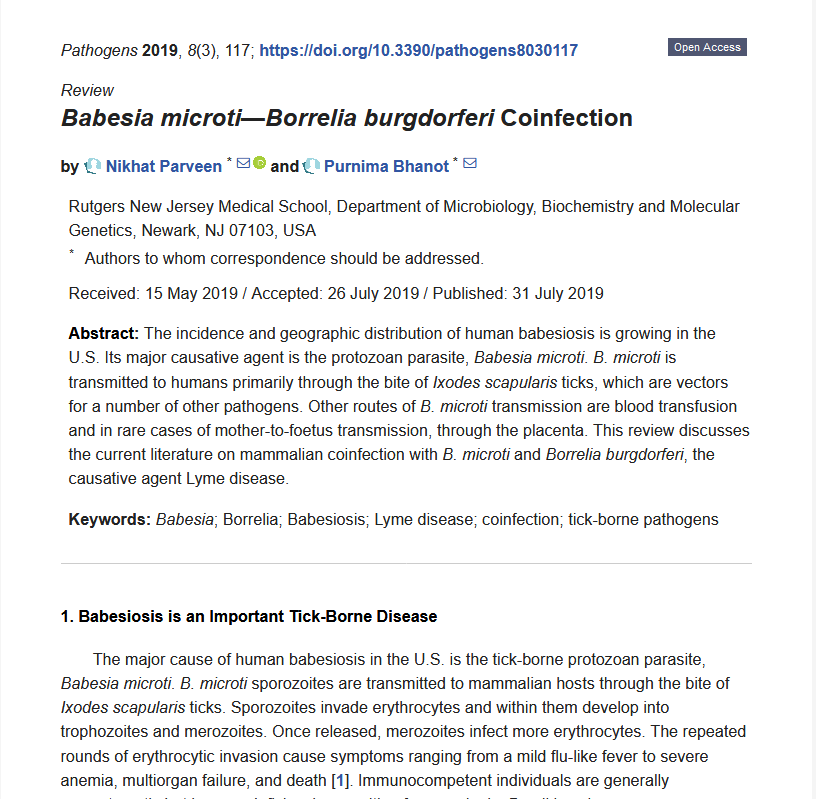 Co-infection - September 2019 review article highlighting key facts of Lyme disease/babesiosis co-infections.