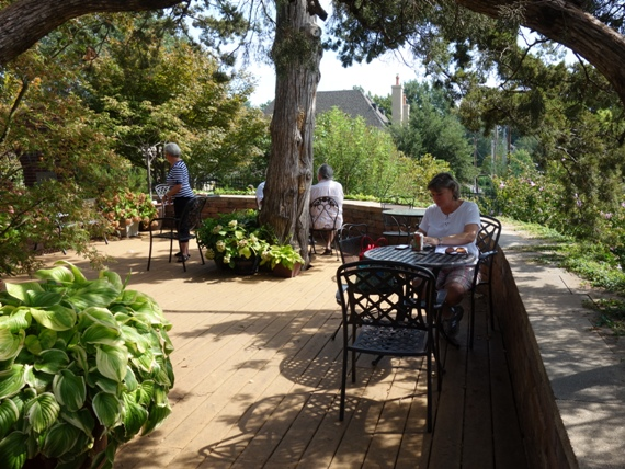 The deck overlook is right around the corner. Tables, chairs, shade and cool breezes make this a popular place to relax.