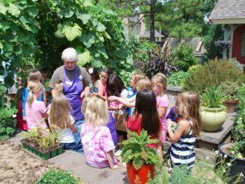 Children tour the Linnaeus Vegetable Garden.